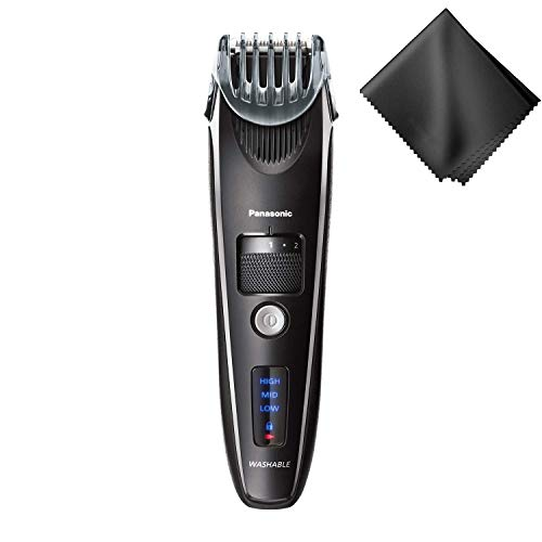 Panasonic Men's Precision Power Beard, Mustache and Hair Trimmer, Cordless Precision Power, Hair Clipper with Comb Attachment and 19 Adjustable Settings, Washable, BROAGE Glasses Cleaning Cloth