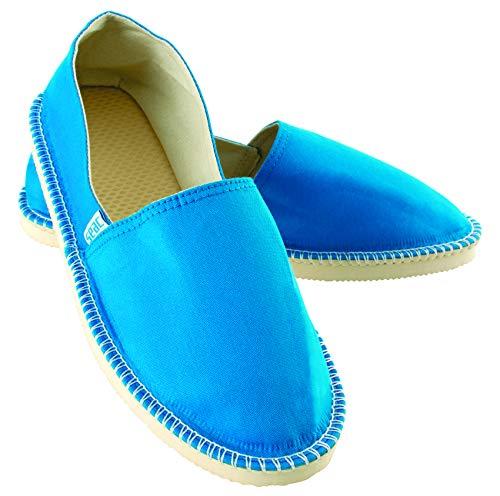 SEAC Malaga Alpargatas para Mujeres y Hombres en Canvas y Costuras expuestas clásicas, Suela Antideslizante, Unisex-Adult, Azul Claro, 36