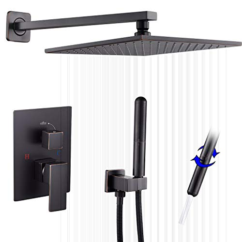 Oil Rubbed Bronze Shower Faucet GGStudy Shower Trim Kit with Rough-in Valve Shower Set Bath Rainfall Shower Faucet System 10inch Square Stainless Steel Metal Shower Heads with Handheld Spray Bronze