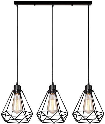 Retro 3 Luces Jaula Luz De Techo Shade Metal E27 Vintage Colgante Lámpara Shade Black Colgante Luz De Luz, Ø 20Cm, Luz Colgante Industrial - Bar Soporte,b