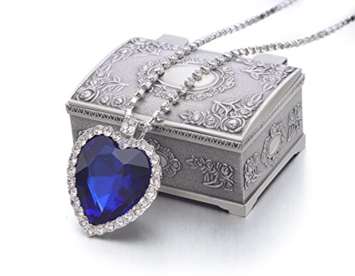 PALLION Classic Titanic Heart of The Ocean Blue Crystal Pendant Necklace w/Jewelry Box…