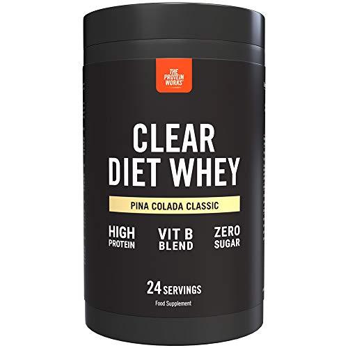 Clear Diet Whey Isolate Protein | Erfrischendes Getränk | Zuckerfrei & ohne Fett | Energie liefernde Vitamine | Pina Colada | THE PROTEIN WORKS | 24 Portionen