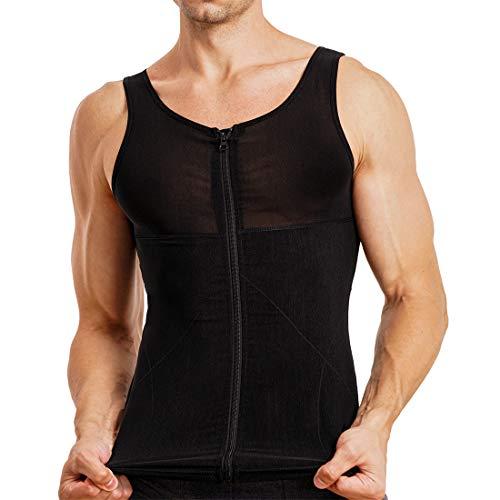 TAILONG Men Shirt Vest Slimming Underwear Body Shaper Tight Tank Top Waist Trimmer Tummy Control Girdle (Black, L)