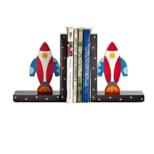 QIFFIY Sujetalibros Sujetalibros, Extremos de Libros, Extremos de Libros de Arte de decoración, Lindos sujetalibros de Madera Antideslizantes con Forma de Cohete de Dibujos Animados Fin del Libro