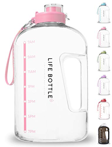 Life Bottle! Time Marked Water Bottle - 1 Gallon Water Bottle with Time Marker - Extra Large Water Bottle/Water Jug Helps You Drink More Water! BPA Free Water Bottle with Leakproof with Flip Top