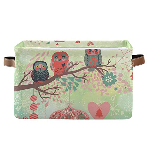 Rectangular Storage Bin Owls On The Branch in Leafs Hearts Basket with Handles - Nursery Storage, Laundry Hamper, Book Bag, Gift Baskets