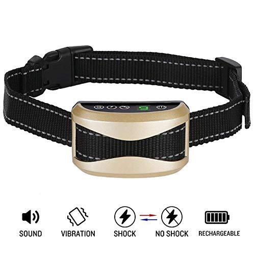 Fitfirst Collar Antiladrido para Perros, Dispositivo de Control de Ladrido de Perro con Entrenamiento de Dejar de Ladrar Recargable Impermeable IPX3 para Todas Las Razas de Perros, Oro