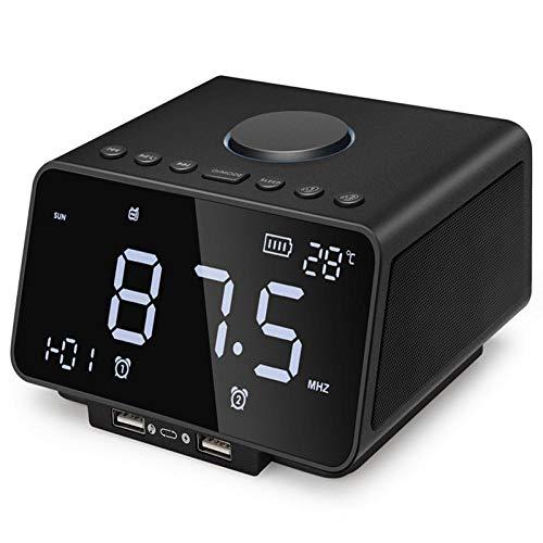 LED wekker met draadloze Bluetooth speaker speler Fm radio USB snel opladen poort TF kaart spelen indoor temperatuur