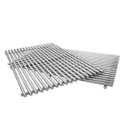 """QuliMetal 19.5"""" SUS304 /9MM Cooking Grates for Genesis 300 Series, Genesis E310 E320 E330 S310 S320 S330, Solid Rod Grill Grates Replacement for Weber 7524 7528"""