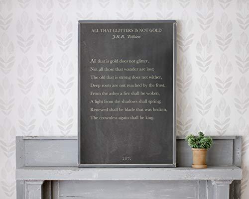 43LenaJon alles wat is goud niet glitter, boek pagina teken,JRR Tolkien Quote,Tolkien Wall Art,Niet iedereen die dwaalt zijn verloren