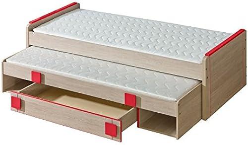 Kinderbett   Jugendbett Elias 16 inkl. 2. Liegefl e und Schublade, Farbe  Hellbraun   Rot - Liegefl e  80 x 200cm   (B x L)