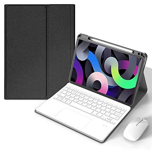 ktong Funda con Teclado Bluetooth para iPad Air 2 de 9,7'(A1566 / A1567), Funda Protectora para Tableta con Soporte para lápiz y Panel táctil,Black+White