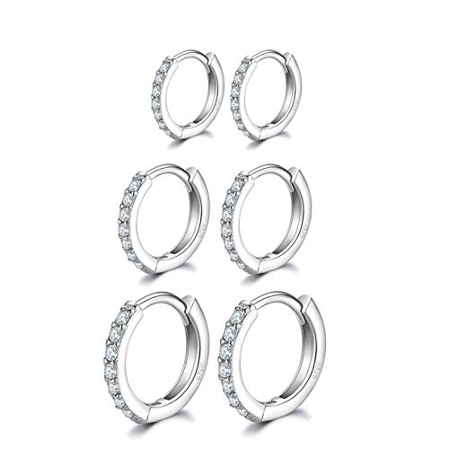 Silver Hoops Earrings for Women, 925 Sterling Silver Post Small Silver Hoop Earrings with AAA Cubic Zirconia, 3 Pairs Hypoallergenic Small Sleeper Hoops Huggie Hinged Earrings(8/10/12mm)