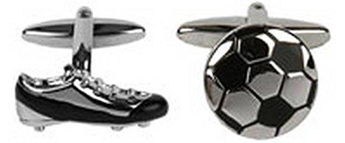 Silber / Schwarz Football und Boot-Manschettenknöpfe von David Van Hagen
