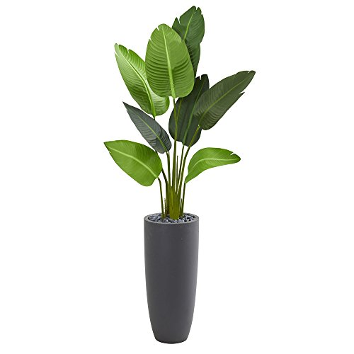 Nearly Natural 5.5' Traveler's Palm Tree in Gray Planter Artificial Plant, Green