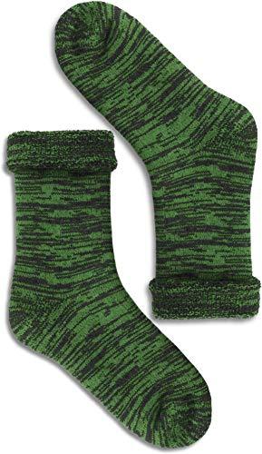 1, 2 oder 3 Paar Warme Thermo Wintersocken mit Schafwolle - Wollsocken für Damen & Herren Farbe Grün/Schwarz Größe 3 Paar 35-38