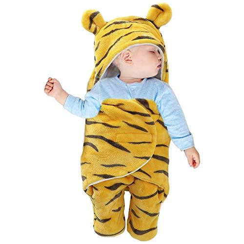 puseky Saco de dormir para bebé recién nacido, diseño de tigre con capucha, manta de forro polar, para niños y niñas, color amarillo