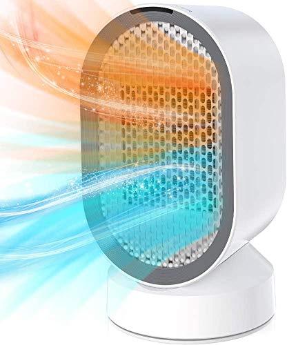 Calefactor Eléctrico Cerámica, Calefactor de Aire Portátil 600W PTC Elemento de Cerámica, Bajo Consumo,Silencioso, Calefacción 2S, 45° Oscilación con Viento Calor y Natural