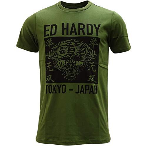Ed Hardy - Camiseta de manga corta, diseño de tigre, color negro Verde caqui M