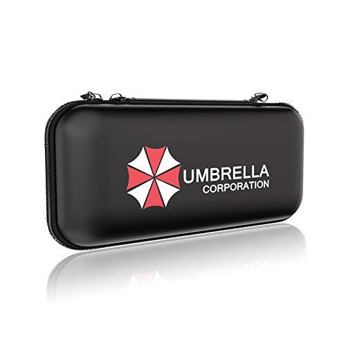 RIKILIO Tasche für Nintendo Switch, Wasserdichter/Stoßfest/Kratzfest/Displayschutzfolie/Spielpatronen Tragbare/Grerem Speicherplatz Leder Reisetasche für NS Konsole & Accesoires(Umbrella Corporation)