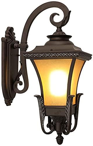 Lámpara de pared a prueba de polvo a prueba de agu Luces de pared al aire libre eléctrica, lámpara de jardín vintage con lámpara de vidrio Shade E27 linternas montadas en la pared a prueba de agua par