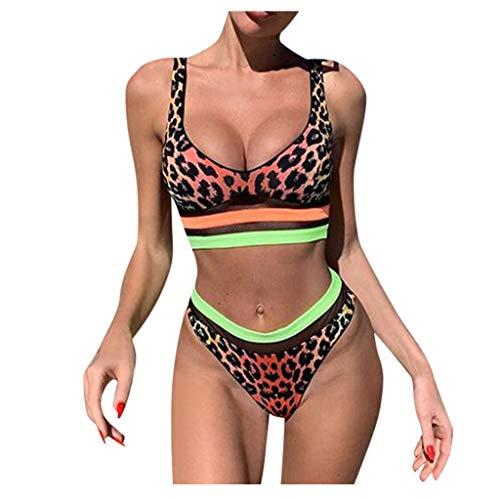LANSKIRT Traje de Baño Mujer Tallas Grande Sexy Bikinis Leopardo Patchwork a Rayas Patchwork Bañadores Cintura Alta Ropa de Playa Verano Biquini Vikinis Elasticos Trikini Modernas