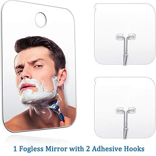 Dusche Spiegel Rasieren Makeup Nebellos Spiegel Leichter Rahmenloser Spiegel mit 2 Stücken Klebe Haken, 6.8 x 5.2 Zoll