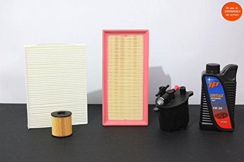 4 filters (lucht- en oliefilter) + 6 liter olie
