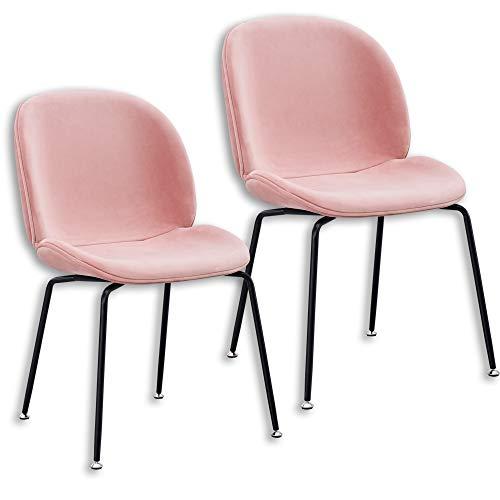Popfurniture Samt Designer Esstisch Stühle | stylisch & Leichter Aufbau | Auch ideal als Schminktisch Stuhl & Samt Stuhl | Stühle Esszimmer, Stuhl Esszimmer, Stuhl Samt, Esszimmerstühle Samt | Rosa