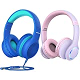 Mpow CH6S Kids Headphones with Microphone, Bundle with Mpow CH9 Kids Bluetooth Headphones with Microphone & LED Light