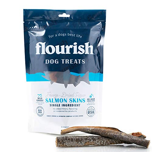 Freeze-Dried Raw Pet Treats for Dogs, Salmon Skin Chews (5 Count)…