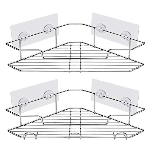 AmazerBath Shower Caddy Corner with Hooks, Adhesive Shower Shelf for Bathroom Storage, Stainless Steel Shower Organizer Wall Mounted, No Drilling, 2 Pack, Chrome
