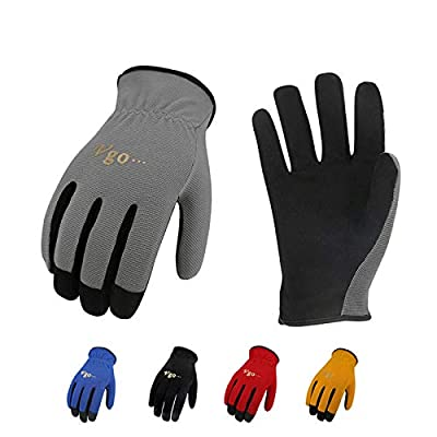 Vgo 5-Pairs Light-Duty Artificial Leather Work Gloves, Multi-Purpose & 360° Breathable Gloves, High Dexterity, Abrasion Resistant, Superior Colorfastness (Size M, 5 Colors, AL8736)
