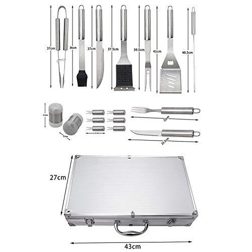 419eodIJGbL - BBQ Tools Set BBQ Grill Tools Kit 20 stücke Edelstahl BBQ Werkzeuge Set mit Aufbewahrungskoffer Grillzubehör im Freien (Farbe : 27pcs, Size : 43 * 27 * 8cm)