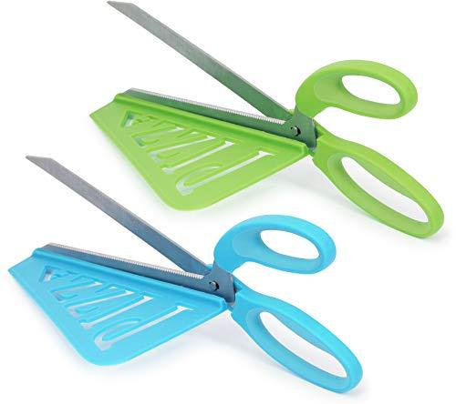 COM-FOUR® tijeras para pizza 2x con superficie de servicio en diferentes colores: tijeras para cortar pizza con cuchillas de acero inoxidable (002 piezas - tijeras para pizza azul + verde)