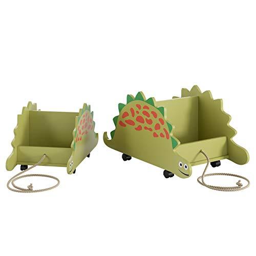 Homfa 2er Set Kinderregal mit 4 Rollen Spielzeugregal Aufbewahrungsregal Bücherregal mit Zugschnur Dinosaurier grün 59×31×27.5(groß) 47.5×26×22(klein)
