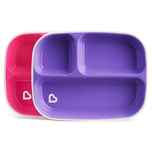 Munchkin Splash Kids 2 Divider Plates (6 months Plus) BPA Free - Pink / Purple