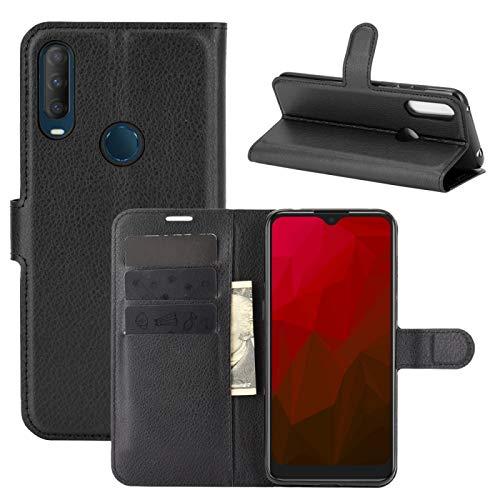 Tangyongjiao Accesorios para Celular para la Caja Protectora del tirón Vodafone Inteligente V11 Litchi Textura Horizontal con el sostenedor y Ranuras para Tarjetas y Monedero (Color : Black)