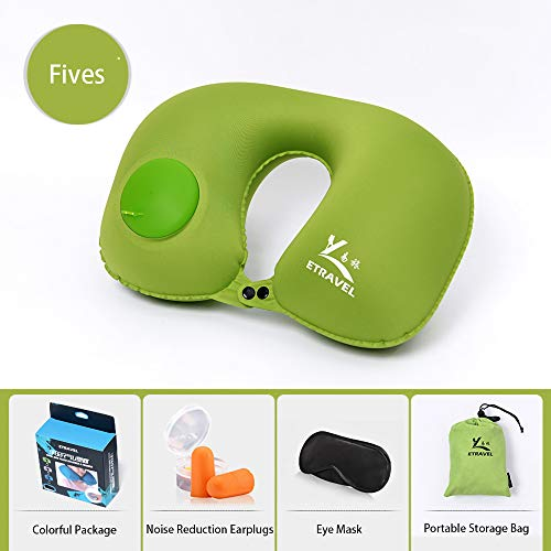 Inflatable Travel Pillow Neck Cushion for Airplane or Car Travel Goods Small U Shape Headrest Cushion for Best Rest & Portable Bag(Green)