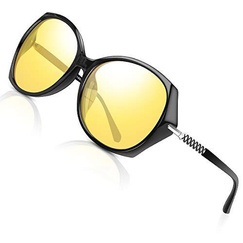 Nachtfahrbrille Damen Auto Polarisiert Autofahren - HD Gelbe Anti Glanz Biker Nachtsichtbrillen Brille Gewidmet Nachtbrille(Schwarz)