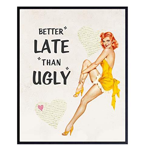Funny Vintage 1950s Pinup Girl Bathroom Home Decor Print - 8x10 Retro Wall Art Decoration for Bath, Bedroom - Cute…