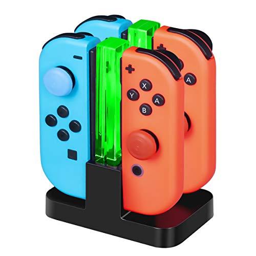 CHEREEKI 4 in 1 Ladestation für Joy-Con, Lade Dock für Nintendo Switch Controller JoyCon Ladegerät mit Typ-C Kabel LED Anzeige