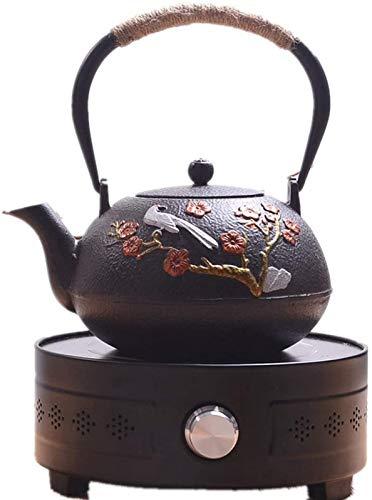 WQF Tetera de 1.2L + 1300W Estufa de cerámica eléctrica Hervidor de Hierro Fundido japonés Negro