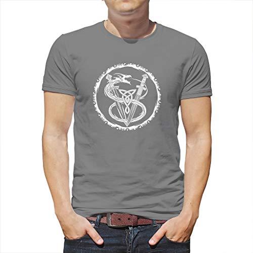 Heren T-shirt etnisch viking draak zwaarder knopen raf cirkel totem print grafische mode top thees Keltisch Odin geest casual zomer shirts blouse