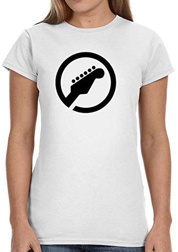 FTY Gitaar Vrouw voor Vrouwen Katoen Wit Korte Mouw 3⁄4 T-Shirt (518)