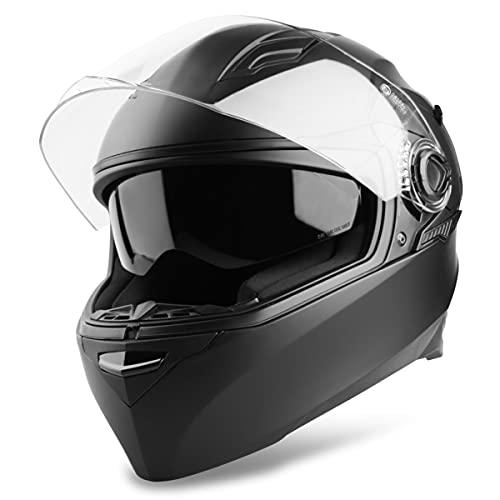 Vinz Kensal Integralhelm mit Sonnenblende | Motorrad Helm Vollvisierhelm | Motorradhelm Full-Face Helme | In Gr. XS-XL - Matt Schwarz