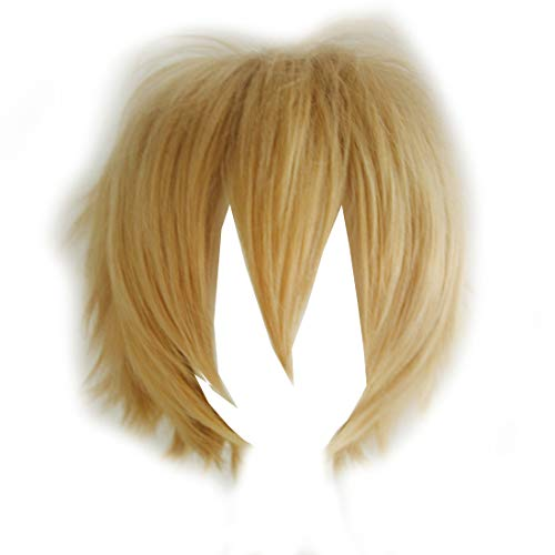 Alacos Unisex Cosplay Short Straight Hair Wig Women Men Anime Comic Con Party Dress Wigs Mix Gold Wig+ Free Wig Cap