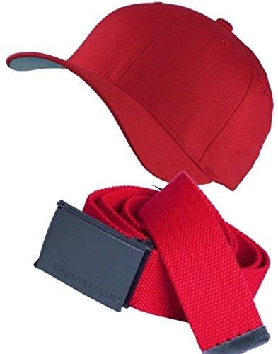Flexfit - Baseball Classic Cap + UC Basic Belt Kombi - Rot Rot (L/XL)