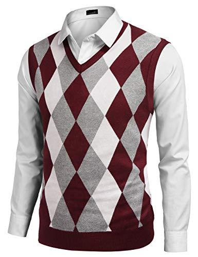 JINIDU Mens V-Neck Casual Slim Fit Golf Knit Vest Sleeveless Sweater Pullover Wine Red