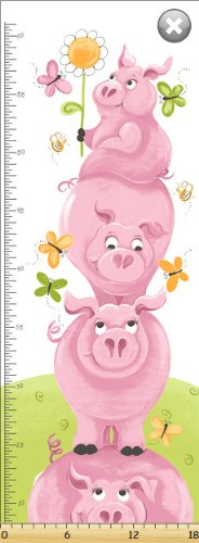 Susybee Flip The Pig Messlatte Blech Quilting-Gewebe, 45 cm x 110 cm
